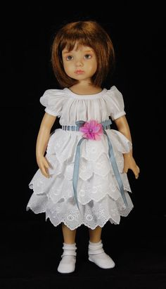 "Boneka Dianna Effner 13"" Dress with cotton embroidered lace skirt only"