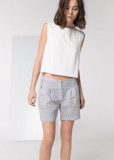 Striped linen-blend shorts