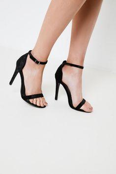 Brand Attic Velvet Strappy Heels - Black