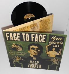FACE TO FACE three chords and a half Lp Record Vinyl gatefold-out cover w/Lyrics #punkPunkNewWave