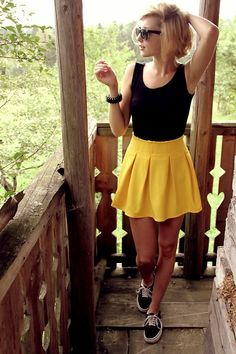 Black Tank, Yellow Skirt, but nix the sneakers & pair with flats or wedges.
