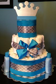 Custom Personalized 65 DIAPER CAKE Little Prince Blue Silver Crown Theme Boy Baby Shower Gift Decoration Centerpiece Any Colors