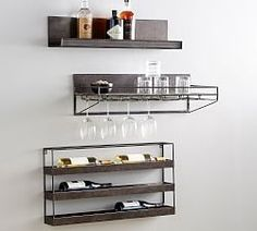 Supremely functional and versatile, our Gable Iron Entertaining System brings organization to your media components in a minimal, industrial-style design. This easy-to-use system lets you arrange the shelves to suit your needs and rearrange as nee… Wine Glass Shelf, Floating Glass Shelves, Wine Shelves, Bar Shelves, Wall Mounted Shelves, Kitchen Shelves, Shelving Ideas, Hanging Shelves, Kitchen Storage