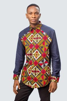 African print shirt, ankara shirt, ankara top, african mens c African Fashion Men, African Clothing For Men, African Fashion Designers, African Wear, Mens Fashion, Fashion Outfits, Fashion Styles, African Shirts For Men, African Outfits