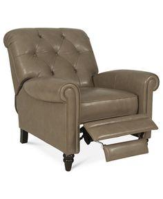 Martha Stewart Collection Leather Recliner Chair, Bradyn 36