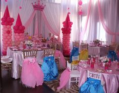 Princess theme party ideas , Once upon a time custom chair covers, balloon decorations and ideas Www. Disney Princess Birthday Party, Princess Theme Party, Tea Party Birthday, Birthday Party Themes, 4th Birthday, Birthday Ideas, Princess Balloons, Girls Party Decorations, Balloon Decorations