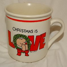 Vintage Ziggy Ceramic Coffee Mug CHRISTMAS IS LOVE Cartoon, Wreath, Christmas Mug, Hot Cocoa Mug, Note: used, in good condition, no chips or cracks, some wear. See photos for size  Email me with any questions prior to purchase. All Sales are Final, no returns. See policies. ❀---✿--❀---✿---❀---✿--❀---✿---❀--✿--❀---✿---❀---✿--❀---✿--- Your item will ship with in 2 weeks from date of purchase I will email you tracking, ETA. If you need this item sooner, please email me through Etsy and I will…