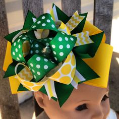 John Deere Green & Yellow Over the top Boutique Hair Bow - Photo Prop - Birthday Party - Stacked Bow on Etsy, $8.00