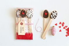 hot cocoa treats with chocolate spoons & marshmallows