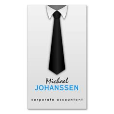 White Shirt Black Tie Accountant Business Cards