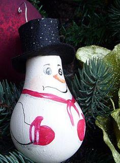 Snowman Lightbulb Ornament -- will look cute with my Santas!