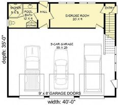 3 car garage and basement entrance with the ability to lock a baby out of the stairs 3 Car Garage Plans, Garage Loft, Carport Garage, Garage Apartment Plans, Garage House, Garage Doors, Garage Ideas, Garage Apartments, Garage Shop