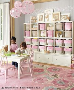 Big girl playroom - loving the decorated paper lanterns