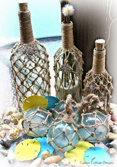 Cameo Cottage Designs: My Ballard Design Demijohn Knock Off Only Better With Bling! Old Glass Bottles, Bottles And Jars, Wine Bottle Crafts, Jar Crafts, Knock Off Decor, Bottle Painting, Bottle Art, Romantic Cottage, Diy House Projects