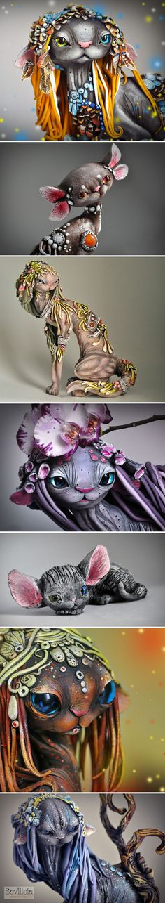 Russian Artist Victoria Serdyukova Sevillsia Combines Fantasy And Rasta Elements To Create Magical Cats of polymer clay