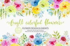 Bright watercolor flowers clipart by Laeti-m on @creativemarket