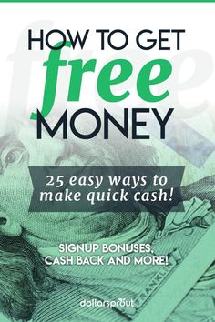 No one would turn down free money, right? Here are 35 foolproof ways to get free money and how you can protect yourself against scams. Earn More Money, Make Money Fast, Earn Money Online, Make Money Blogging, Online Jobs, Make Money From Home, Money Tips, Money Saving Tips, Free Money