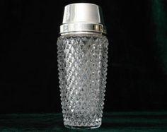 Cocktail Shaker 1960s Crystal Glass Silver Plated / Martini Shaker Bar Cart Vintage Barware
