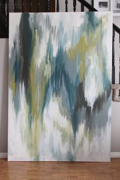 Absolutely Huge--Abstract Painting. Ikat inspired. Green, Turquoise, Gray, Chocolate, White, Navy. $975.00, via Etsy.