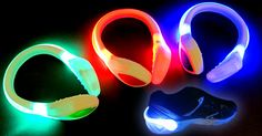 Bright Glowing LED Shoe Clips for Night Runs and Glow Sports! http://glowproducts.com/products/LASHOECW