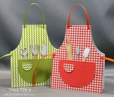 Our Daily Bread - Apron and Tools Die by djmillerwi - Cards and Paper Crafts at Splitcoaststampers - Gingham, dots, stripes etc. Mother Card, Mothers Day Cards, Love Cards, Diy Cards, Sewing Aprons, Shaped Cards, Kids Apron, Creation Couture, Daily Bread