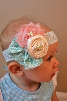 Venda chica diadema  bebé niña  Peach por LittlePearlBoutique, $16.00