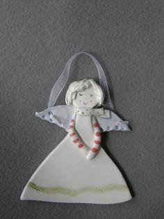 Ceramic Angel Cute Angel Ornament  With by TatjanaCeramics on Etsy, $7.00