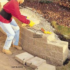 How to Build a Concrete Block Retaining Wall Get your weekend workout and an attractive, hard-working wall with this DIY-friendly project. by CrashFistFight Concrete Block Retaining Wall, Retaining Wall Steps, Building A Retaining Wall, Garden Retaining Wall, Building A Fence, Concrete Blocks, Gabion Wall, Concrete Projects, Concrete Patio