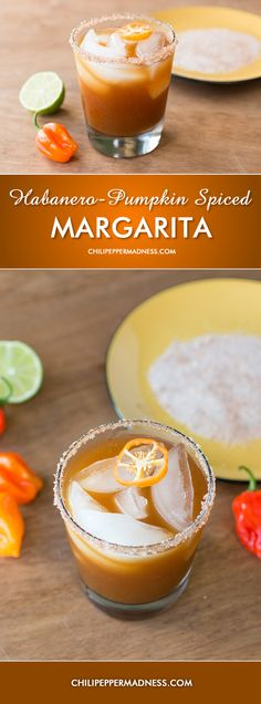 Habanero Pumpkin Spiced Margarita - Give your Margarita a Fall Spin with a bit of a Kick Spicy Margarita Recipe, Margarita Recipes, Spicy Drinks, Yummy Drinks, Alcoholic Beverages, Mix Drinks, Habanero Recipes, Winter Drinks, Fall Cocktails