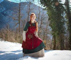 """Viking dress """"Freya""""; viking apron; linen dress; natural fabric; northern clothes; viking clothes"""