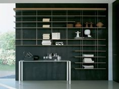 contemporary wooden and metal bookcase GRADUATE by Jean Nouvel Molteni & C