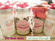 DIY bath salts are so easy and inexpensive to make, what a great gift idea for Christmas, Mother's Day, Valentine's Day, Teachers and more.