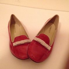 Enrico V. Red Patten Leather flats. Enrich V. Red Patten Leather flats from Italy. Brought while shopping in Florence. Trim and piping in tan leather with thin suede tan bow. Absolutely adorable. Must have. New. Never worn. Enrico V.  Shoes Flats & Loafers
