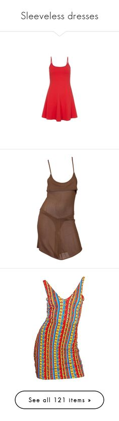 """Sleeveless dresses"" by the-ostracized-angel ❤ liked on Polyvore featuring dresses, brown, mini dresses, day dresses, brown mini dress, knit mini dress, semi sheer dress, mini dress, brown dress and striped"