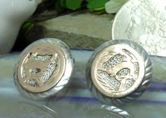 Vintage .950 Sterling Silver and 8k Gold Cufflinks; Dancing Deer Details!! #Unbranded