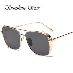 Pop Age Luxury Brand Designer Alloy Fashion Square Sunglasses Women Men  Mirror Gradient Sun Glasses High a18d7134148c
