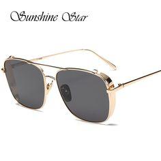 8a0d13a545 Pop Age Luxury Brand Designer Alloy Fashion Square Sunglasses Women Men  Mirror Gradient Sun Glasses High Quality Lunettes
