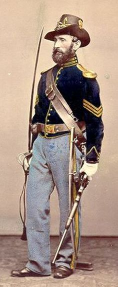 American Civil War Uniform: This picture is of a typical Union soldier uniform from the Civil War. It is a union uniform because of the dark blue coat and light gray pants. The embroidery and buttons often signified rank. History For Kids, Us History, Family History, American War, American History, Union Army, War Image, America Civil War, Civil War Photos