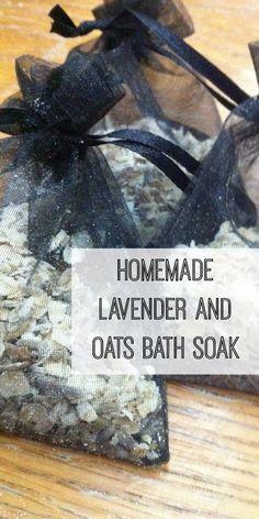 Homemade Lavender and oats bath soak