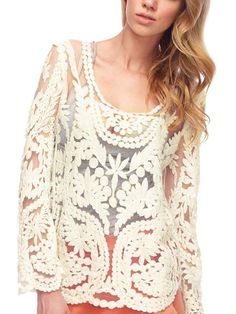 Sale 21% (8.99$) - Women Embroidery Floral Lace Crochet Hollow Out Sheer Sleeve T-shirts