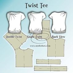 This one's great for your first twist drape pattern making puzzle. Just find your favourite tee shirt pattern to get this going. Sewing Patterns Free, Clothing Patterns, Sewing Tutorials, Dress Patterns, Sewing Projects, Free Pattern, Shirt Patterns, Sewing Dress, Love Sewing