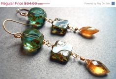 EARRING SALE 15% off Tallulah Czech Glass Earrings with Picasso finish and butterscotch mandarin garnets on Etsy, $28.90