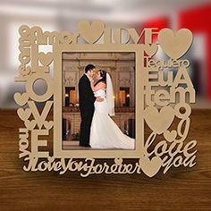 Porta-retrato Amor 10x15cm Cru - Cia Laser