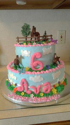 Horse cake for a little girl whos  having a horseback riding party.