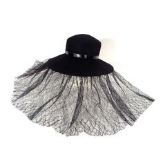 Rue's Funeral Hat with Mourning Veil [SOLD] ❤ liked on Polyvore featuring accessories and hats
