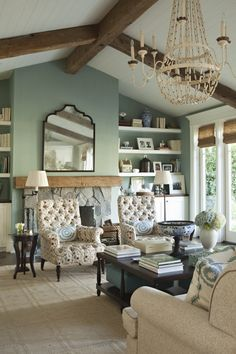 Designer LeeAnn Thornton featured Hawaiian Hemp 3941 Silver Sage in the family room of residence.