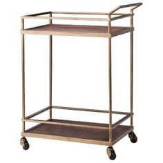 Threshold™ Wood and Brass Finish Bar Cart : loving this bar cart from Target!! So mid century modern!