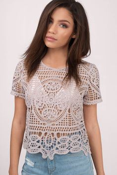 "Search ""Rise Above Lace Top"" on Tobi.com! cropped crop short crochet lace top unique short sleeve sheer beach beachwear Basic outfit simple easy chic fashionable stylish style fashion vacation travel essential capsule wardrobe must have casual comfy comfortable trendy spring summer shop buy cheap inexpensive ideas for women teens cute edgy closet fall college outfit outfits"