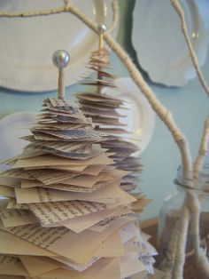 like this, Mom? but with burlap instead of book pages? It looks nice and simple, and inexpensive. DIY Knockoff Anthro Book Page Tree
