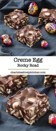 Restaurants in Miami Right Now An Easter version of super simple rocky road featuring Cadbury creme eggs - yum!An Easter version of super simple rocky road featuring Cadbury creme eggs - yum! Köstliche Desserts, Delicious Desserts, Dessert Recipes, Brunch Recipes, Easy Rocky Road Recipe, Ma Baker, Easter Treats, Easter Cake, Easter Food